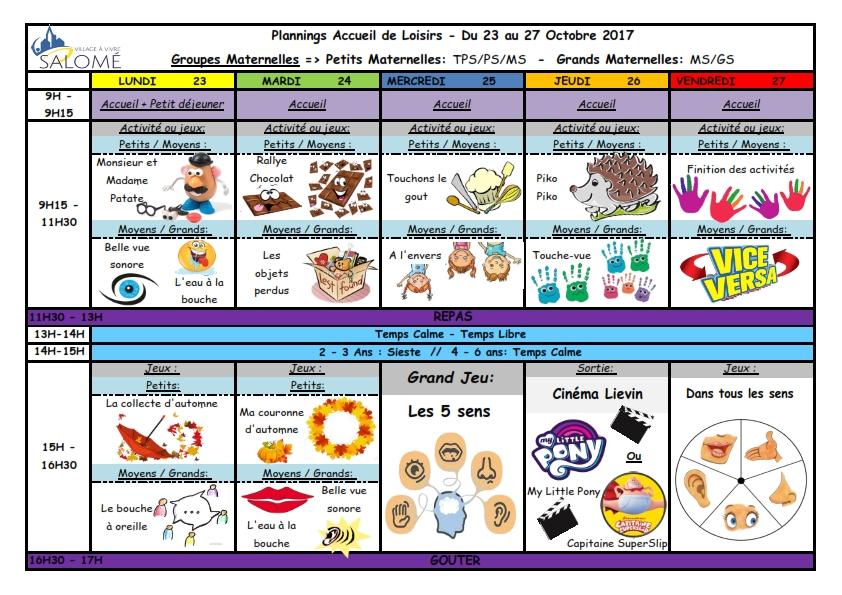 AL du 23 au 27 octobre 2017 Maternelle