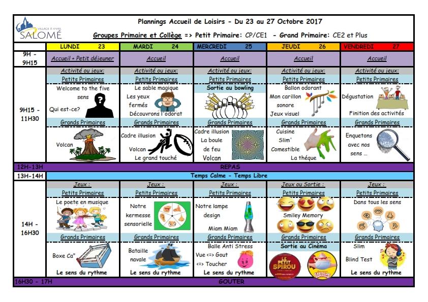 AL du 23 au 27 octobre 2017 primaire